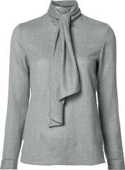 Scarf Detail Blouse Women Wool 34, Women's, Grey