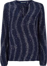 Star Print Blouse Women Silk 38, Blue