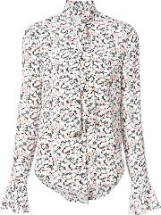 Scarf Neck Printed Blouse