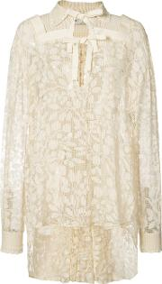 Elongated Back Lace Blouse Women Silkrayon 42, White