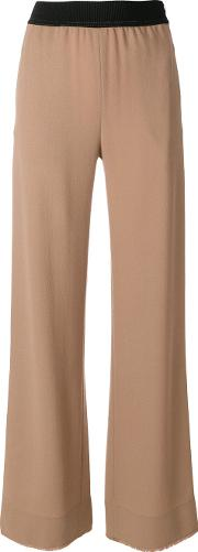 Veronique Leroy Elastic Waistband Flared Trousers Women Wool 40, Brown