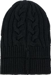 Cable Knit Beanie Hat Men Calf Leatherwool