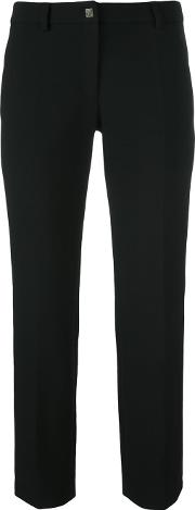 Cropped Tailored Trousers Women Cottonpolyesterspandexelastaneviscose 46, Black
