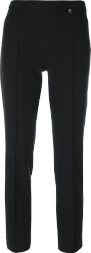 Cropped Tailored Trousers Women Polyesterspandexelastaneviscose 48, Black