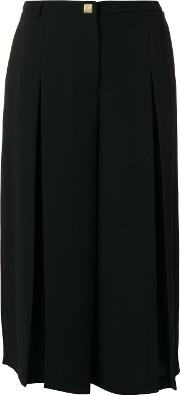 Versace Collection Wide Leg Cropped Pants Women Polyesterviscose 40, Black