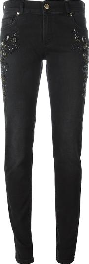 Stone Embellished Cropped Jeans