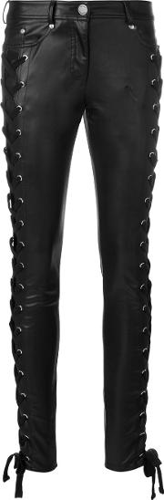 Lace Up Skinny Trousers Women Cottonpolyester 25, Black