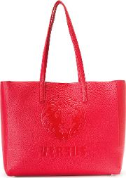 Large Embossed Logo Tote Women Calf Leather One Size, Red