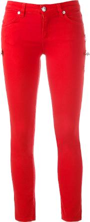 Safety Pin Detail Trousers Women Cottonspandexelastane 27, Red