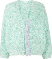 Chunky Knit Cardigan Women Wool L, Green