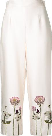 Embroidered Flower Cropped Trousers Women Silkviscose 10, White