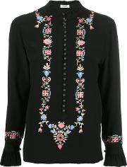 Floral Embroidery Blouse Women Silk 12, Women's, Black
