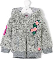 Floral Applique Teddy Jacket