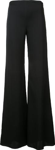 Flared Trousers Women Silkspandexelastane 48, Black
