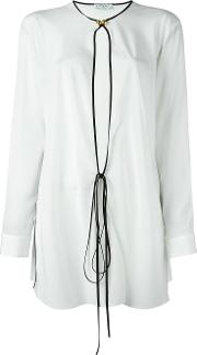Tie Front Blouse Women Silk 42, White