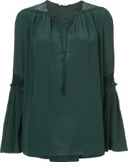 Vionnet Bell Sleeve Blouse Women Silk 42, Green