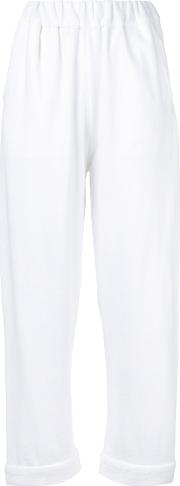Elasticated Waistband Cropped Trousers Women Cotton S, White