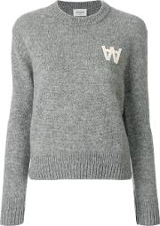 Wood Wood Long Sleeve Logo Jumper Women Wool S, Grey