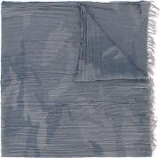 Faded Camouflage Print Scarf Men Cotton One Size, Grey