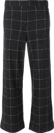 Woolrich Checked Cropped Trousers Women Cotton S, Grey