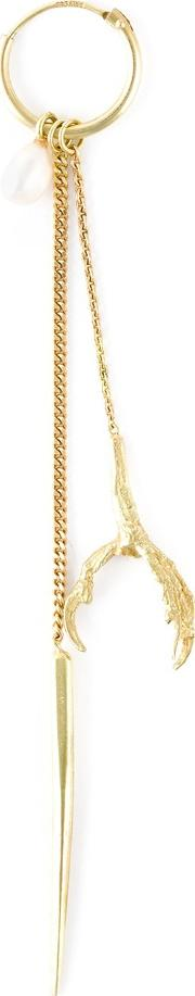 18kt Yellow Gold 'spike, Claw And Pearl'