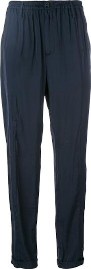 Silky Cropped Trousers Women Polyester 34, Blue