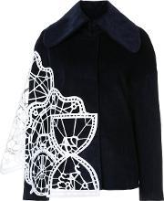 Geometric Panelled Wide Collar Jacket Women Cottonsilicone S