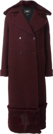 Long Fur Detail Overcoat Women Virgin Woolrabbit Fur 40, Red