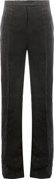Textured High Waisted Trousers Women Linenflaxviscose 40, Black