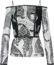 Off Shoulders Leopard Embroidery Blouse Women Polyester 4, Black
