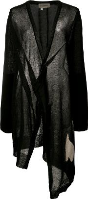 Abstract Intersia V Neck Cardigan Women Linenflaxpolyester 2, Black