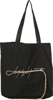 Logo Tote Unisex Cottonlinenflax One Size, Black