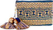 Canvas Woven Pouch With Pompom Tassels Women Straw One Size, Blue