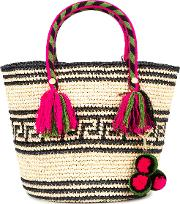 Kolet Woven Tote With Pouch Women Straw One Size, Black
