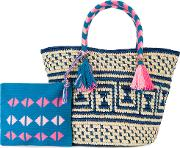 Manya Woven Tote With Pouch Women Straw  Nudeneutrals