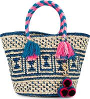 Manya Woven Tote With Pouch Women Straw One Size, Nudeneutrals