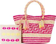 Simea Woven Tote With Pouch