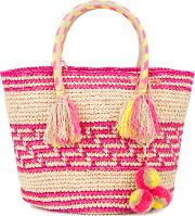 Simea Woven Tote With Pouch Women Straw One Size, Nudeneutrals