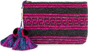 Woven Canvas Pouch With Pompom Tassels Women Straw One Size, Black