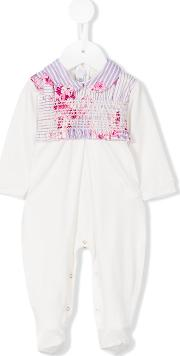 Pleated Peter Pan Romper Kids Cottonspandexelastane 6 Mth, White