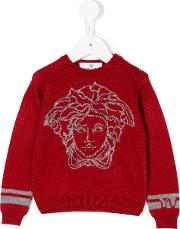 Young Versace Intarsia Knit Sweater Kids Virgin Wool 36 Mth, Red