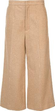 Wide Legged Tailored Cropped Trousers