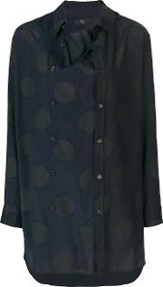 Y's Double Breasted Blouse Women Rayon 1, Blue