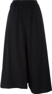 Y's Elasticated Waistband Cropped Trousers Women Cottoncupro Xs, Black