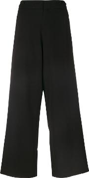 Y's Embroidered Trim Wide Leg Trousers Women Cuprowool 1, Black