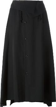Y's Fold Over Asymmetric Skirt Women Wool 2, Women's, Black