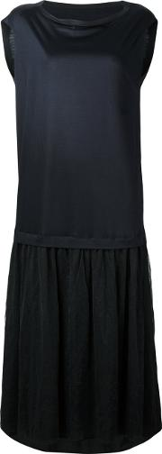 Y's Slash Neck Midi Dress Women Cottonpolyesterlyocelltencel 1, Black