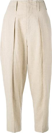 Y's Wide Leg Tapered Trousers Women Cottonlinenflaxcupro 3, Nudeneutrals
