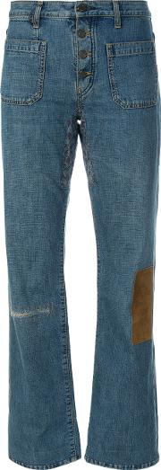 Patches Detailing Bootcut Jeans