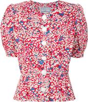 Puffy Sleeves Floral Blouse